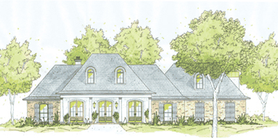French-country Style Home Design Plan: 18-423