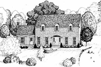 Early-american Style Home Design Plan: 18-427
