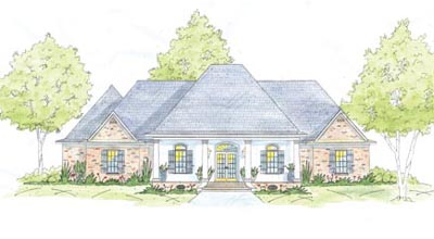 French-country Style Home Design Plan: 18-448
