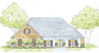 French-country Style Home Design Plan: 18-455