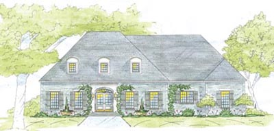 French-country Style Home Design Plan: 18-498