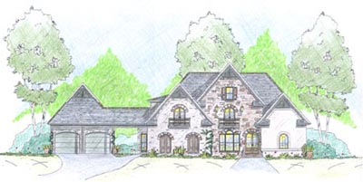 English-country Style Home Design Plan: 18-502