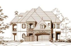 French-Country Style Home Design Plan: 19-1073