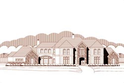 French-Country Style Home Design Plan: 19-1355