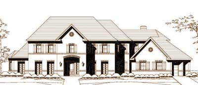 European Style Home Design Plan: 19-1453