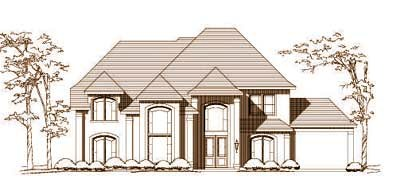 European Style Home Design Plan: 19-1489