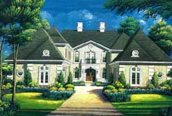 French-Country Style Home Design Plan: 19-1751