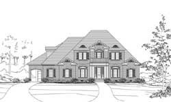 French-Country Style Home Design Plan: 19-1830