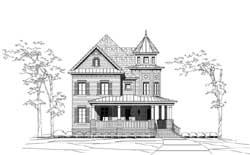 Victorian Style Home Design Plan: 19-1843