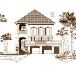 Coastal Style Home Design Plan: 19-383