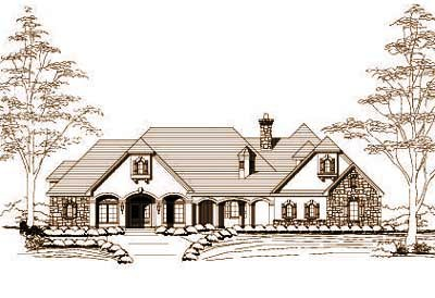 French-country Style Floor Plans Plan: 19-406