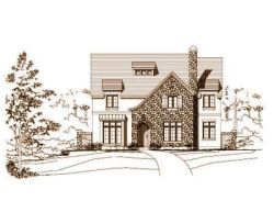 French-Country Style Home Design Plan: 19-412