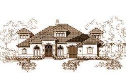 Mediterranean Style Home Design Plan: 19-453