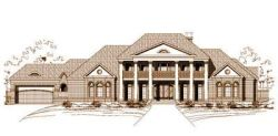 Southern-Colonial Style Home Design Plan: 19-454