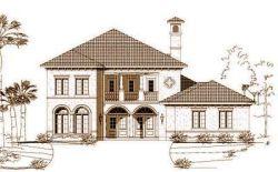 Mediterranean Style Home Design Plan: 19-680