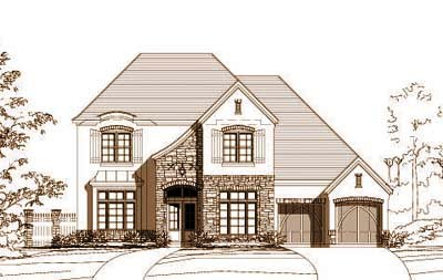 French-country Style Home Design Plan: 19-723