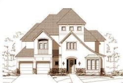French-Country Style Home Design Plan: 19-930