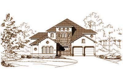 Tuscan Style Home Design Plan: 19-966