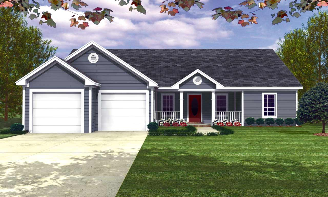 Ranch Style Home Design Plan: 2-129