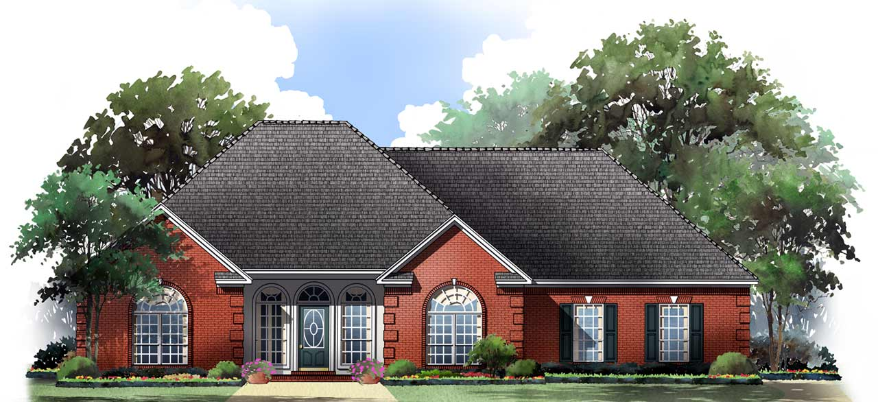 European Style Home Design Plan: 2-136