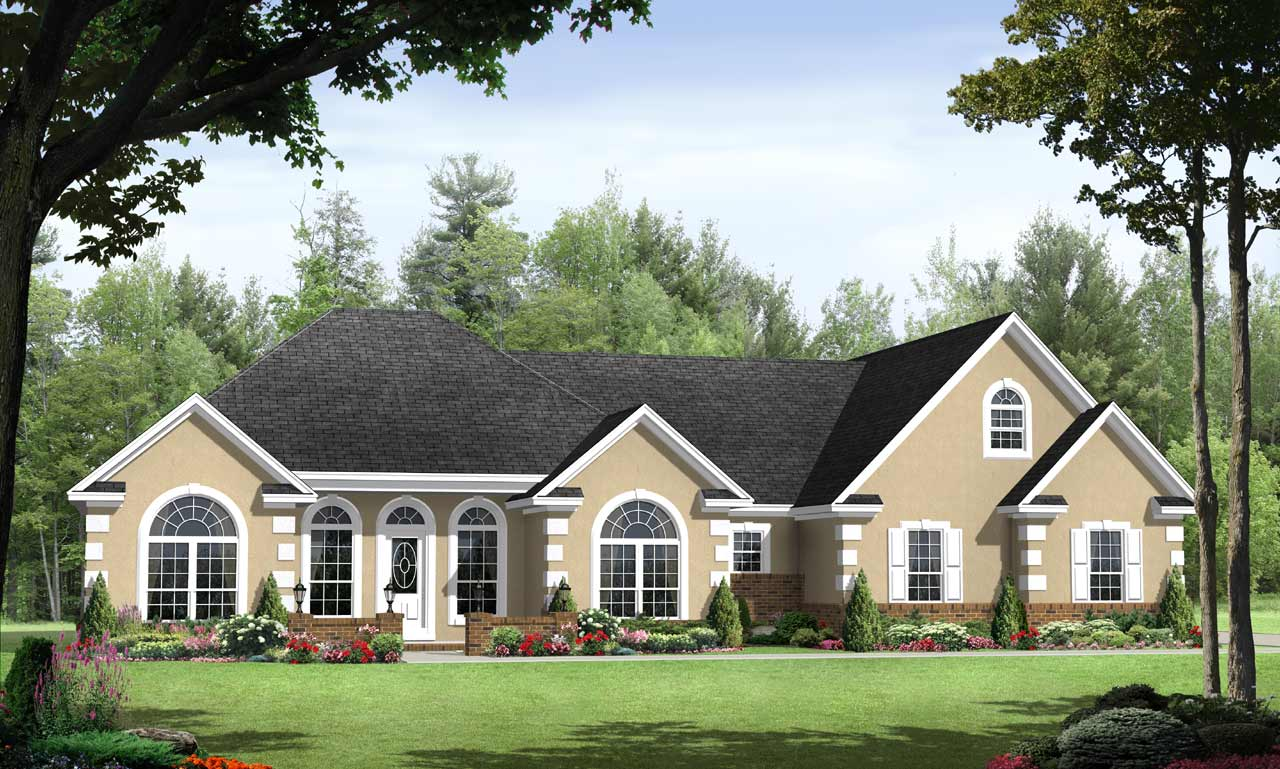 European Style Home Design Plan: 2-195