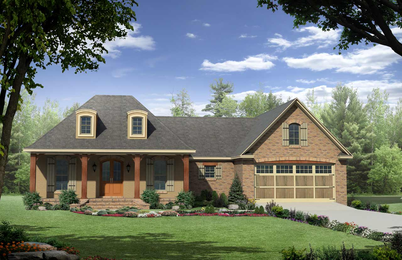 French-country Style Home Design Plan: 2-258