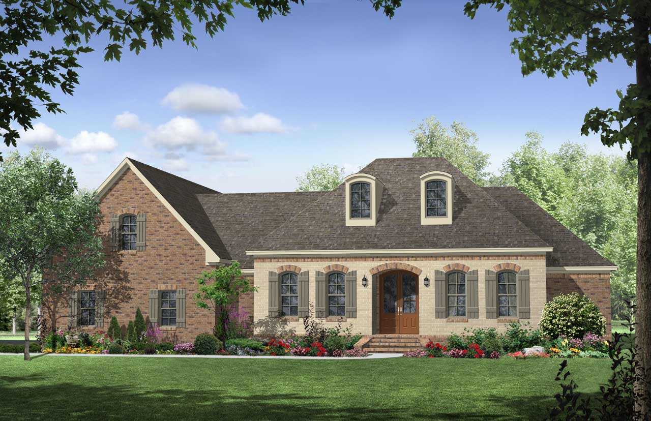 French-country Style Home Design Plan: 2-262