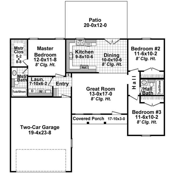Country House Plan - 3 Bedrooms, 2 Bath, 1200 Sq Ft Plan 2-302 on ranch house plans three bedrooms, ranch house plans pool, ranch house plans two bedroom,