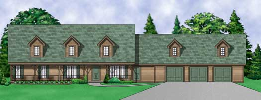 Country Style Home Design Plan: 21-1010