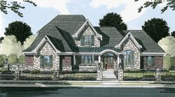 English-Country Style Home Design Plan: 23-405
