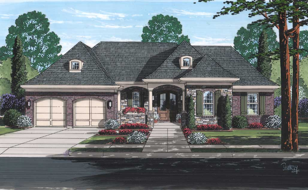 French-country Style Home Design Plan: 23-572