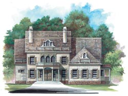 Southern-Colonial Style Home Design Plan: 24-121