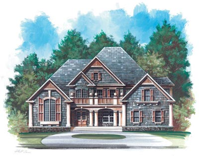 European Style Home Design Plan: 24-164