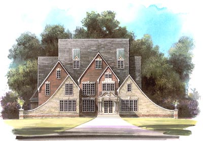 French-country Style Home Design Plan: 24-198