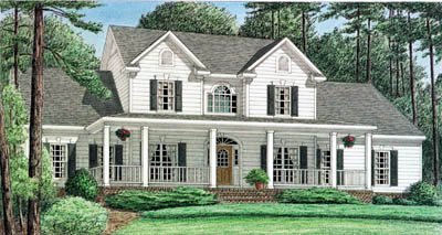Country Style Home Design Plan: 27-184