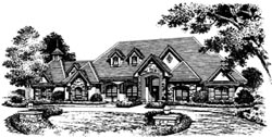 French-Country Style Home Design Plan: 28-119