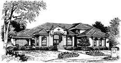 Mediterranean Style Home Design Plan: 28-122
