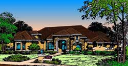 French-Country Style Home Design Plan: 28-129