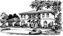 Spanish Style Home Design Plan: 28-130
