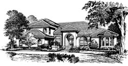 Mediterranean Style Home Design Plan: 28-133