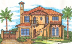 Spanish Style Home Design Plan: 28-150