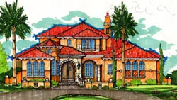 Spanish Style Home Design Plan: 28-156