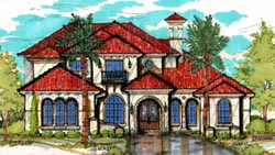 Mediterranean Style Home Design Plan: 28-158