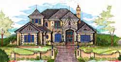 Italian Style Home Design Plan: 28-175