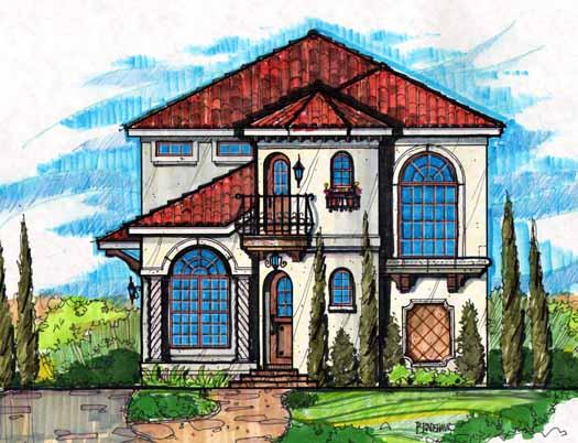 Mediterranean Style Home Design Plan: 28-178