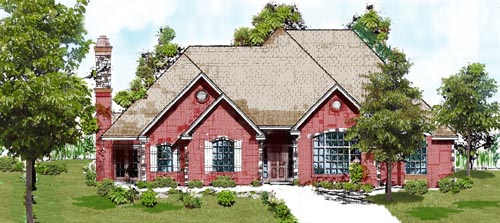 European Style Home Design Plan: 3-105