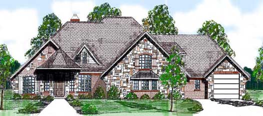English-country Style House Plans Plan: 3-109