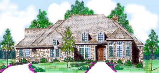 European Style Home Design Plan: 3-112
