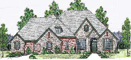 French-country Style Floor Plans Plan: 3-163