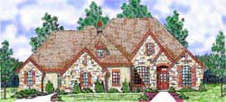 French-Country Style Home Design Plan: 3-164
